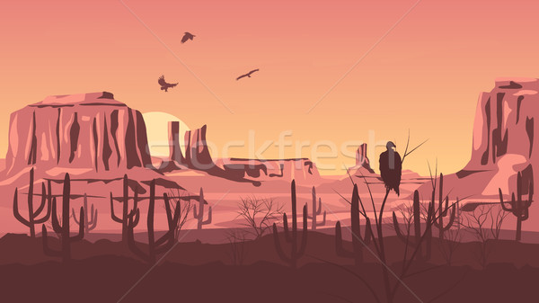 Horizontal cartoon illustration of prairie wild west. Stock photo © Vertyr