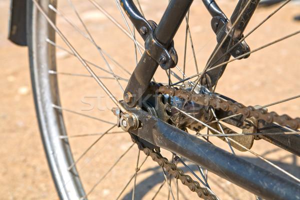 Wiel fiets keten stoffig ontwerp metaal Stockfoto © vetdoctor