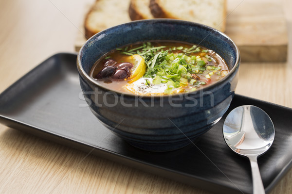 Bowl with delicious soup with beans Stock photo © vetdoctor