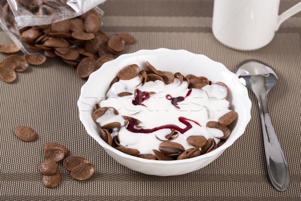 Stock photo: Flakes in bowl with funny face