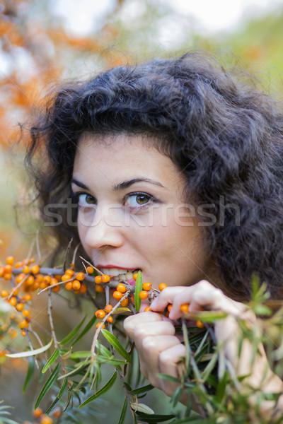 Ver mulher comer modelo verão retrato Foto stock © vetdoctor
