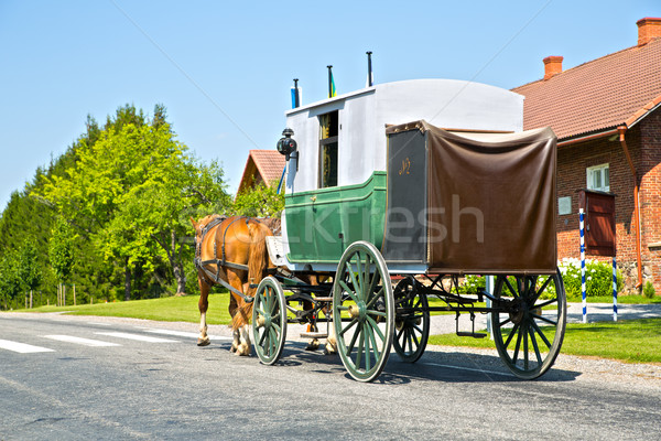 Wagon on road is moving by horses Stock photo © vetdoctor