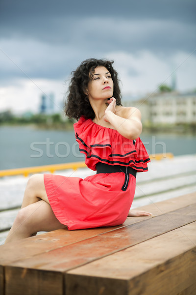 Woman in nice dress sit on bench Stock photo © vetdoctor