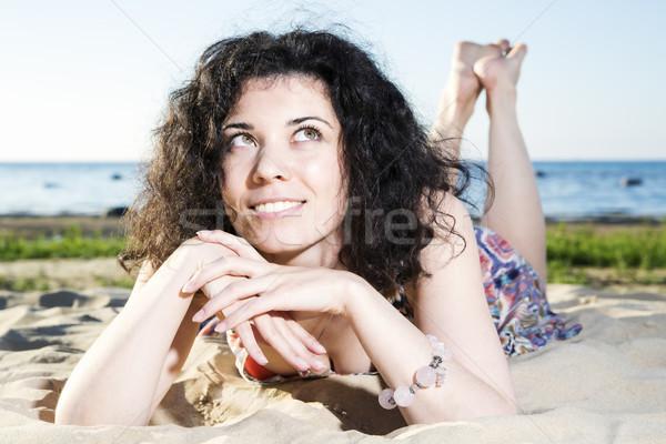女性 見える 空 ビーチ 幸せ モデル ストックフォト © vetdoctor