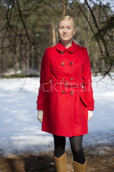 Rosso cappotto abete rosso felice studente Foto d'archivio © vetdoctor