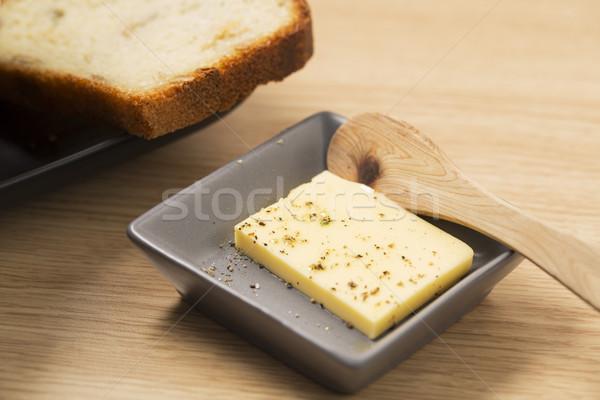 Manteiga tigela fatia pão isolado comida Foto stock © vetdoctor