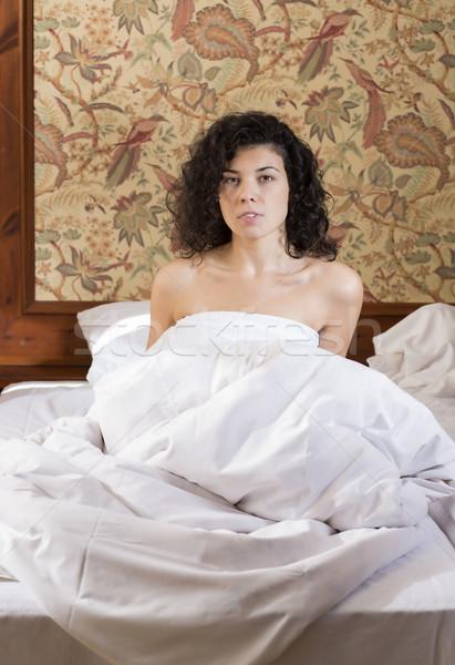 женщину кровать беспокойный ночь красивая женщина модель Сток-фото © vetdoctor