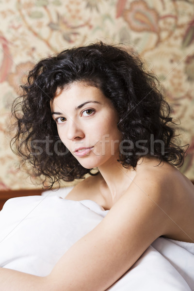 Pretty woman face at early morning sunlight Stock photo © vetdoctor