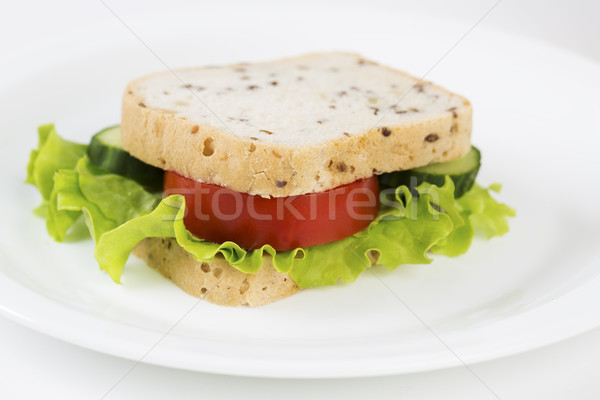 Sandwich with vegetables will satisfy hungry stomach Stock photo © vetdoctor