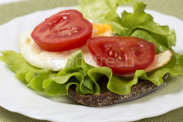 Sandwich with vegetables and egg under tomato Stock photo © vetdoctor