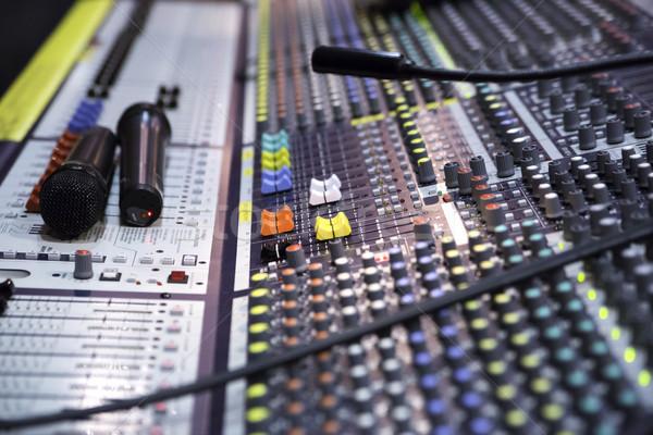 Widoku dźwięku miksera regulacja przyciski muzyki Zdjęcia stock © vetdoctor