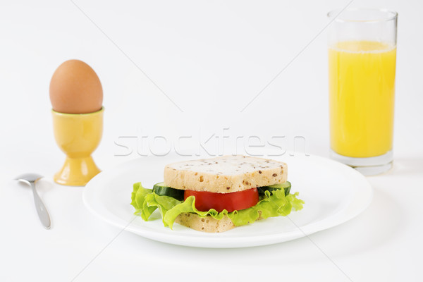 Sandwich between egg and juice satisfy stomach Stock photo © vetdoctor