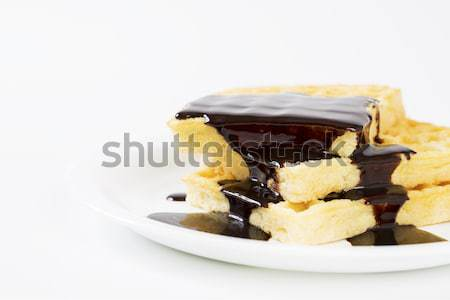 Wafers poured over by melted dark chocolate Stock photo © vetdoctor