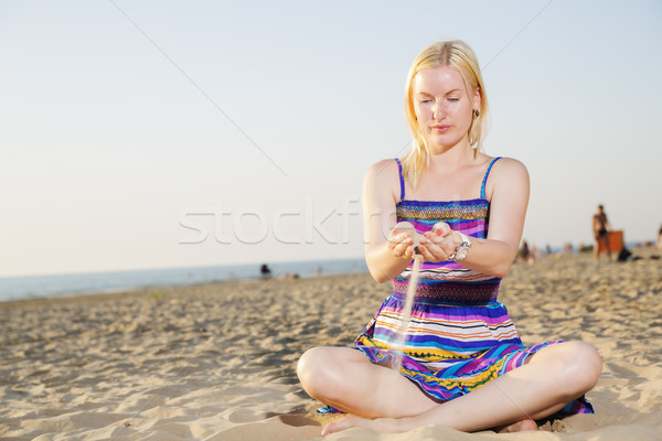 Woman in dress traverse the sand Stock photo © vetdoctor