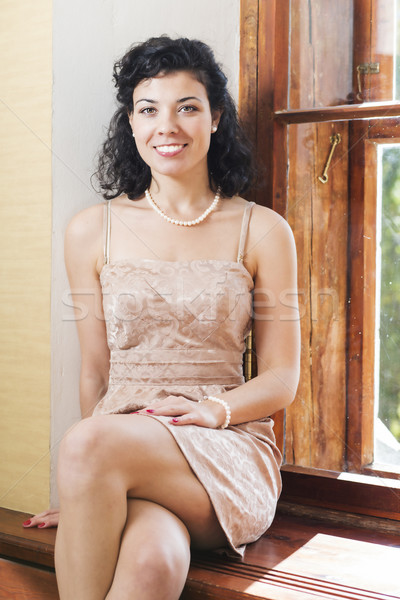 Woman on sill and wide bright smile Stock photo © vetdoctor