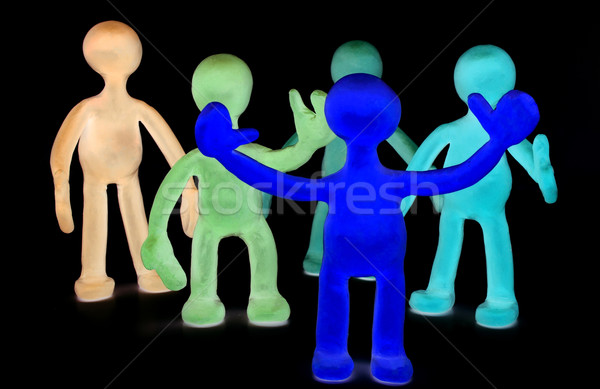 Group of plasticine puppets on black background Stock photo © vetdoctor