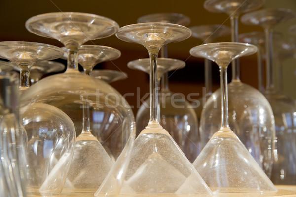 Emty different shape goblets stay on shelf Stock photo © vetdoctor