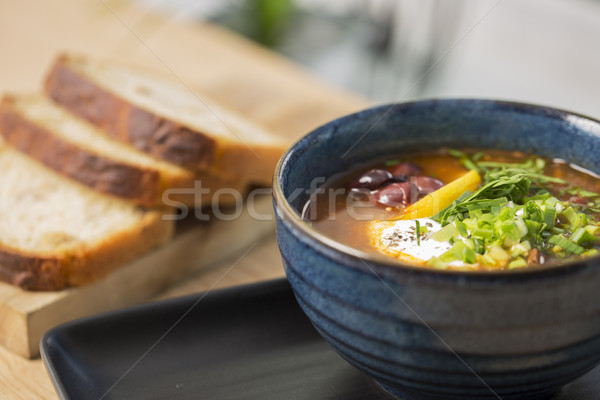 Bowl with cooled soup with beans Stock photo © vetdoctor