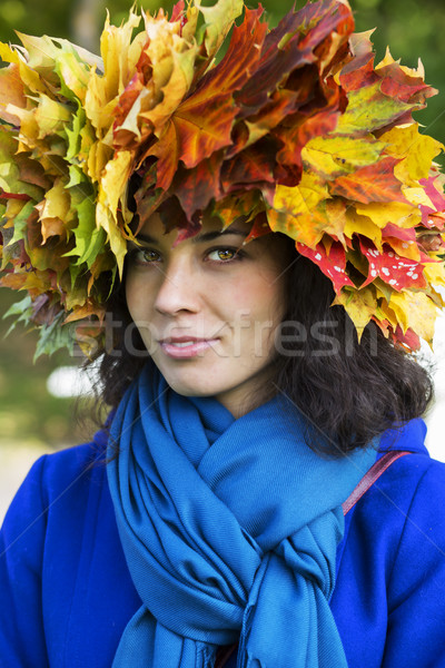Woman with leaves on head with scarf Stock photo © vetdoctor
