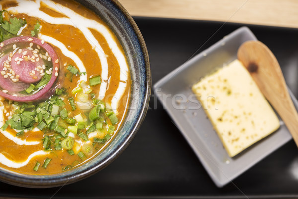 Zoomed bowl with reflective soup Stock photo © vetdoctor