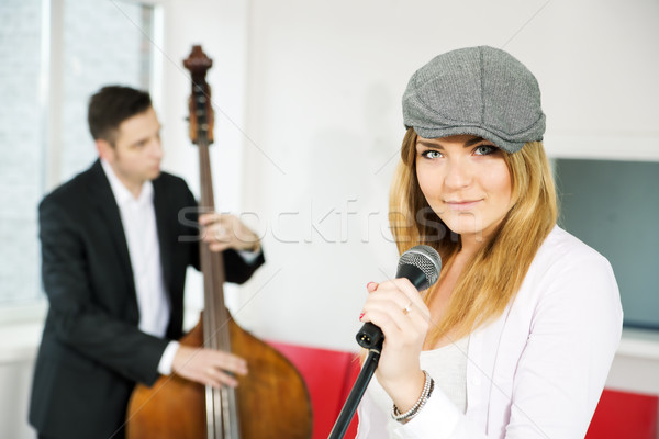 Retro style pair of musicians present single Stock photo © vetdoctor