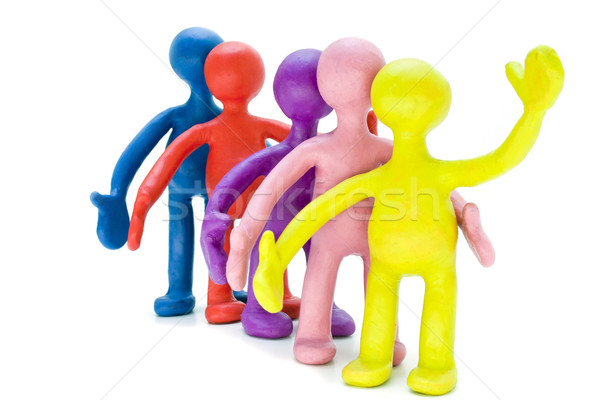 Group of plasticine puppets signing by hands Stock photo © vetdoctor