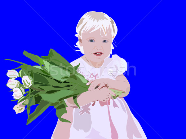 Blond young girl standing with a flowers in her hands Stock photo © vetdoctor