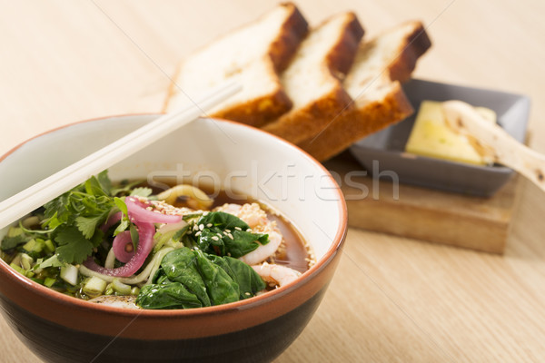 Bowl with hot broth, shrimp and vegetables Stock photo © vetdoctor