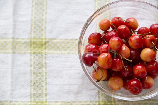 Pile of cherries palced in transparent bowl Stock photo © vetdoctor