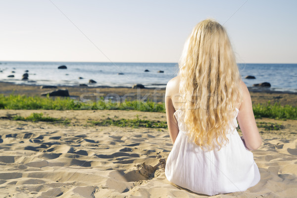 Dreaming woman in white dress on beach Stock photo © vetdoctor