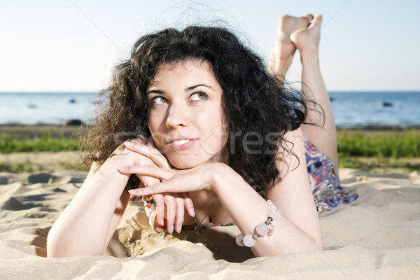 Dreaming woman with dark hairs Stock photo © vetdoctor
