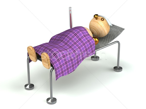 Wood man with flue in the bed Stock photo © vetdoctor