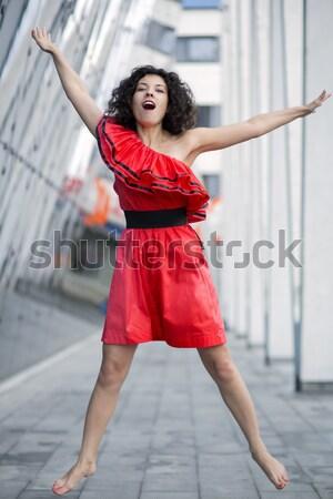 Mulher vestido vermelho correr modelo verão Foto stock © vetdoctor