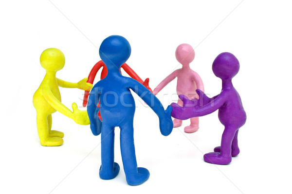 Look on group of plasticine colored puppets Stock photo © vetdoctor