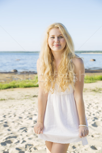 Happy woman in white dress with hairs Stock photo © vetdoctor