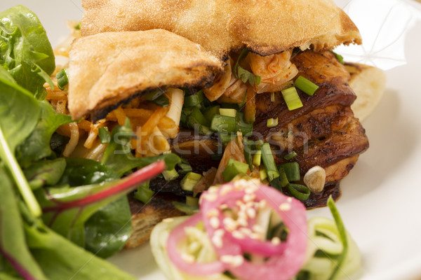 Pitta bread with onion and meat slices Stock photo © vetdoctor