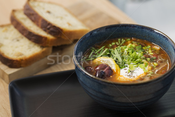 Bowl with cooled soup with vegetables Stock photo © vetdoctor