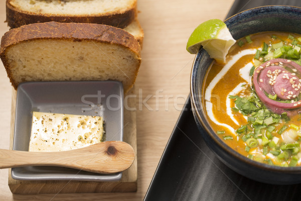 Ceramic bowl with delicious soup Stock photo © vetdoctor