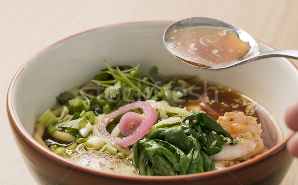 Bowl with broth, shrimp and fesh parsley Stock photo © vetdoctor