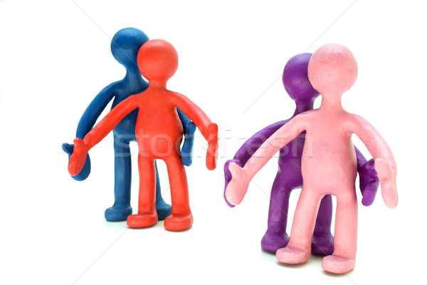 Plasticine puppets pair standing near each other Stock photo © vetdoctor
