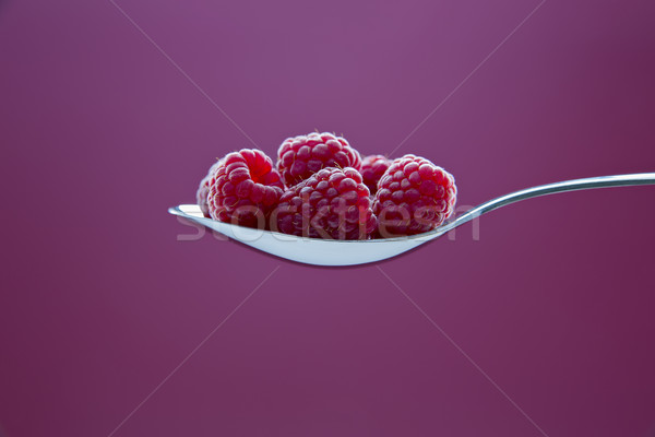 Fresh raspberry on metal chromed spoon Stock photo © vetdoctor