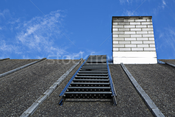 White chimney on grey roof without smoke Stock photo © vetdoctor