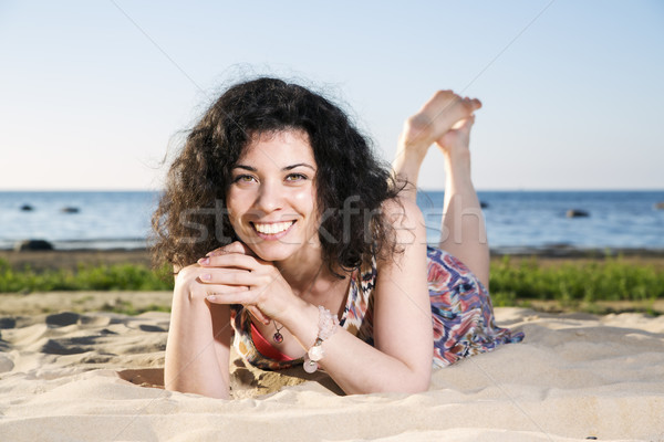 Smiling woman with dark hairs Stock photo © vetdoctor