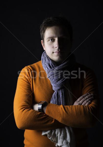 Homem veja para a frente mãos parede fundo Foto stock © vetdoctor