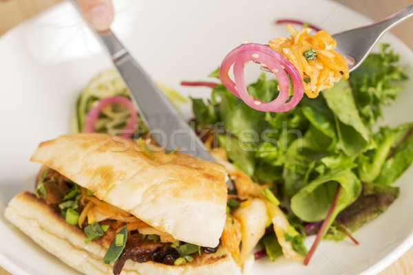 Pitta bread grilled meat between fork Stock photo © vetdoctor