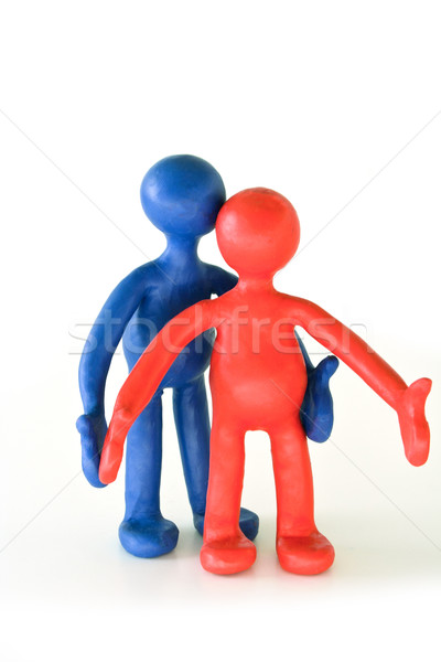 colored plasticine puppets standing on white background Stock photo © vetdoctor