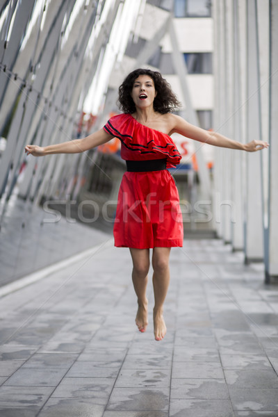 Nő szép nedves ruha ugrás tér Stock fotó © vetdoctor