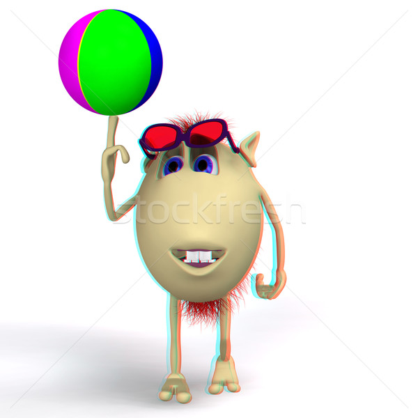 Puppet playing colored ball on white background Stock photo © vetdoctor