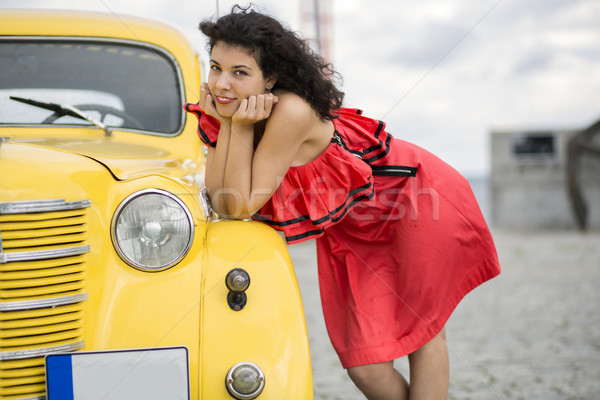 Woman in nice dress rely on car Stock photo © vetdoctor