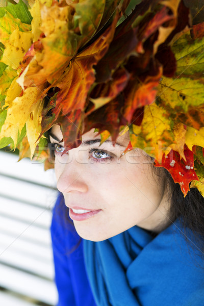 Woman with maple leaves on head Stock photo © vetdoctor